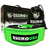Rhino USA Recovery Tow Strap 4in x 30ft - Lab Tested 40,320lb Break Strength - Heavy Duty Draw String Included - Triple Reinforced Loop Straps to Ensure Peace of Mind - Emergency Off Road Towing Rope