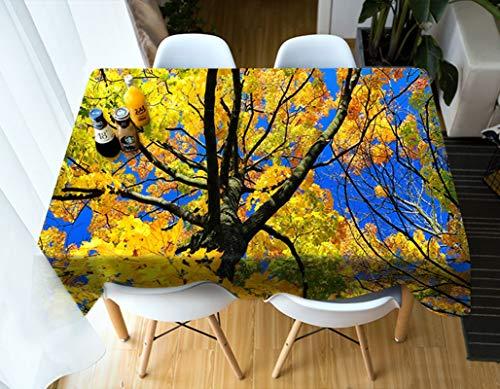 Rubyia Table Cloth, Manteles Mesa Paisaje Natural de Árboles de Otoño Tramas para Cocina Comedor, Poliester, 140 x 200 cm, Verde