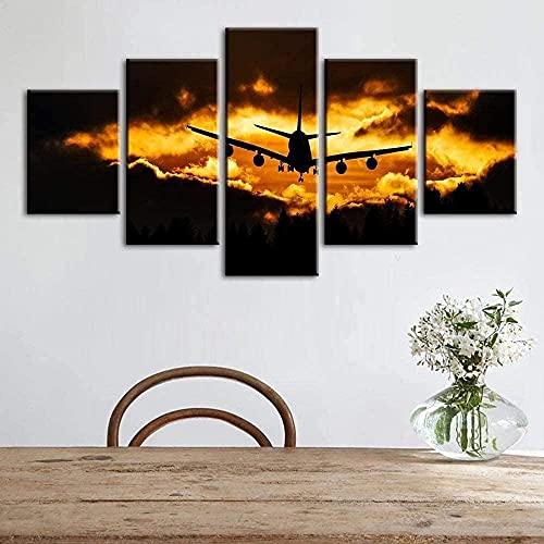 5 Lienzos Arte de la Pared Moderno Cinco Pinturas Modular 5 Paneles Cuadros Lienzo Arte de la Pared Pinturas Impreso Avión Nubes Póster Sala de Estar Decoración del hogar Trabajo