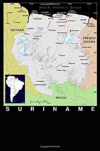 Modern Day Color Map of Suriname in Africa Journal: Take Notes, Write Down Memories in this 150 Page Lined Journal