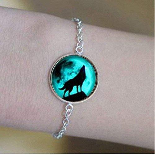 Braccialetto con lupo di luna che si illumina al buio dopo l'assorbimento dei raggi UV, braccialetti per l'amicizia e l'amore regali unici per gli amanti