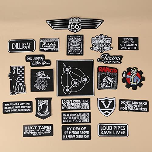 Patch Sticker,Parche termoadhesivo,Aplique de bordado adecuado para sombreros, chaquetas, abrigos, camisetas letras inglesas en blanco y negro 20 piezas