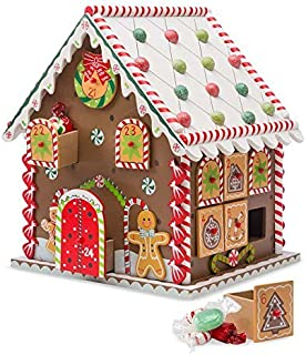 Wooden Gingerbread House Countdown to Christmas Advent Calendar 10.5 x 8 x 9.5 H (Renewed)