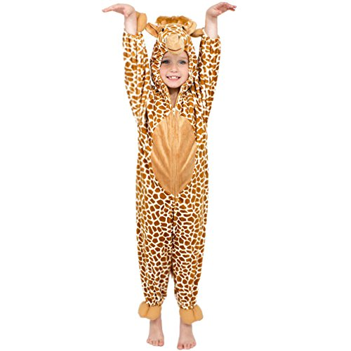 YFCH Traje de Disfraz Animal para Niños Niñas Pijama de Una Pieza con Capucha para Festival de Carnaval Halloween Navidad, Jirafa, S/Altura: 80-90cm