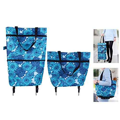 JOOEE Folding Shopping Bag Collapsible Trolley Bags with Wheels Foldable Shopping Cart Reusable Shopping Bags Grocery Bags Shopping Trolley Bag on Wheels for Women (Blue Flora)