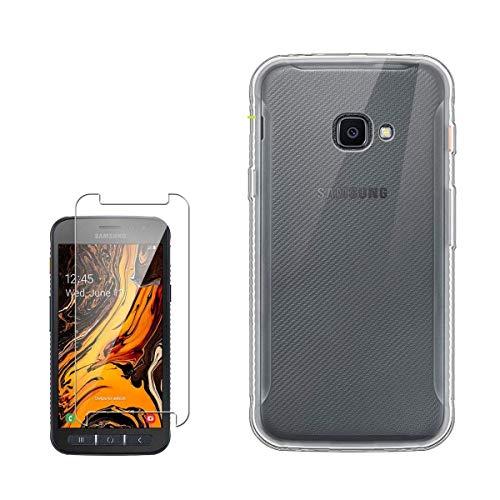 LJSM Funda para Samsung Galaxy XCover 4S + Protector de Pantalla Templado Film Película Protectora - Transparent Carcasa Silicona TPU Suave Caso Case para Samsung Galaxy XCover 4S (5.0'), Clear