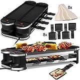 KESSER 2in1 Raclette - Tischgrill, Grill Partygrill, für 8 Personen 2x Alu-Grillplatte,360°...