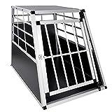 JOM Cage de Transport Voiture Grille 69 x 91 x 65 cm/Base: 91 x 65 cm/Toit: 59 x 53 cm, Material: Alu/MDF, Noir/Chrome, 1x Porte.
