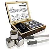 Whisky Stones Gift Set with Wooden Presentation Box (Silver)