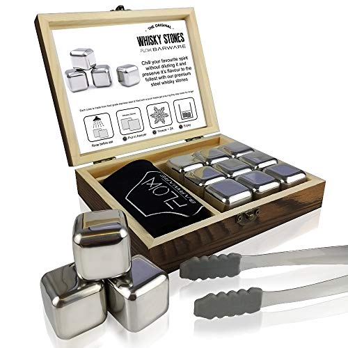 FLOW Barware Whisky-Steine, Geschenk-Set mit Eiszange und Aufbewahrungstasche, wiederverwendbare Eiswürfel aus Metall, verhindert Verdünnung von Whisky, Rum, Brandy, Wein und Gin Getränken silber