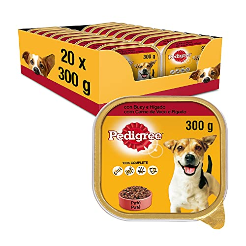 Pedigree Comida Húmeda para Perros Sabor Buey e Hígado en Paté (Pack de 20 Tarrinas x 300g)
