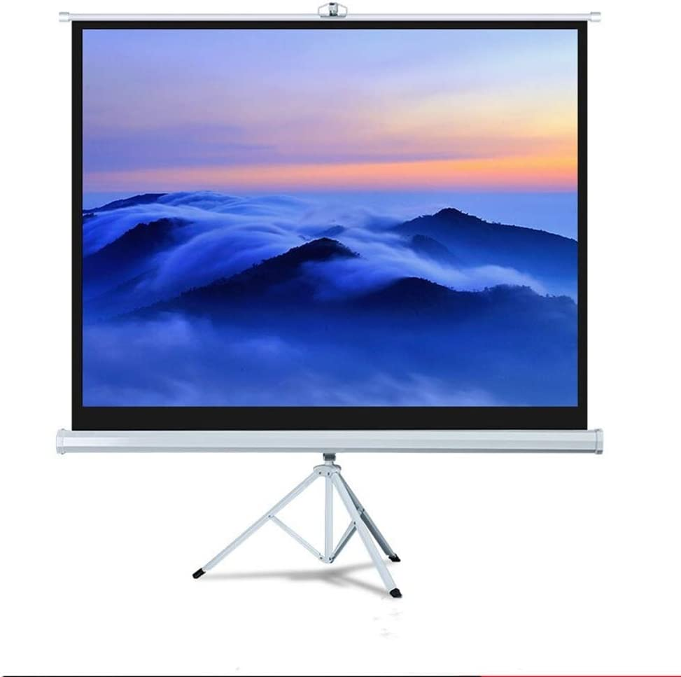 FMOGE Projector Screen with Support- Indoor Projection Screen for Movie Or Office Presentation - 4:3 HD Tripod Screen for Projector for Meeting (Color : White, Size : 84inch)