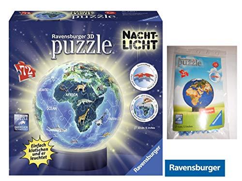 Ravensburger 11844 3D-Puzzle Erde Im Nachtdesign, Nachtlicht + 3D Puzzle Weltkugel 27-teilig