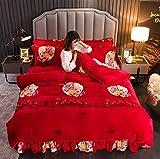 GSYHZL Luxury Bedding Set,Ensemble de literie Chaud en Velours de Vison Doré au Lait, Drap et taie d'oreiller en Duvet Falai-K_200x230(4pcs)