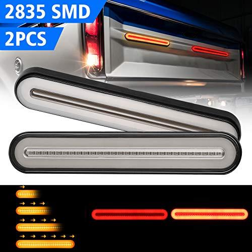 1 Paar 100 LED Truck Trailer Anhänger Rücklicht, 3 in 1 Neon Sequentiell Fließendes Signallicht Anhänger Rücklicht Stop Turn Bremslicht für RV schwere Lkw, Bootsanhänger