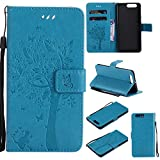 OMATENTI Huawei P10 Plus ケース 手帳型ケース ウォレット型 カード収納 ストラップ付き 高級感PUレザー 押し花木柄 落下防止 財布型 カバー Huawei P10 Plus 用 Case Cover, ブルー