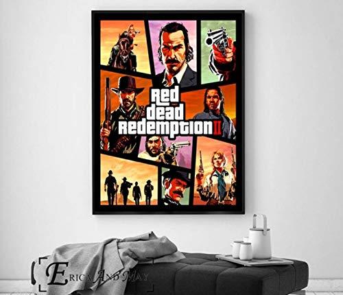 REDWPQ Videojuego Wall Art Canvas Painting Poster para decoración del hogar Carteles e Impresiones Cuadros Decorativos 40X60Cm sin Marco