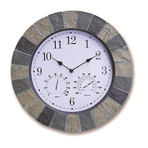 FBBSZSD Reloj Grande de Interior para Exteriores, Reloj de Pared Retro Impermeable de 14 Pulgadas para Interiores/Exteriores, termómetro e higrómetro de Pantalla silenciosa para Patio, p