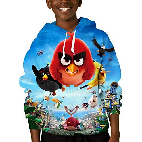 The an-Gry B-irds Jungen Mädchen Kapuzenpullover 3D Cool Hoody Pullover Sweatshirts Langarm Kapuze Gr. M, weiß