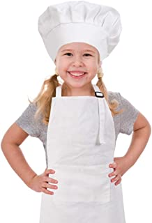 CRJHNS Kids Apron and Chef Hat Set, Adjustable Cotton Child Apron with Large Pocket White Boys Girls Bib Apron for Cooking Painting Baking (Large, White)