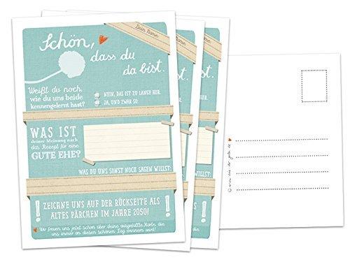 Hochzeitsspiel für Gäste mit 52 Postkarten - Schön, dass du da bist - Türkis, Spiel mit witzigen Fragen & zum Zeichnen, Recyclingpapier Partykarten & Postkartengruß
