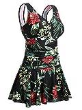 Summer Mae Costume da Bagno Interi Donna Costume da Bagno Vestito Costumi Mare da Donna Taglie Forti Fiore/Nero XXL
