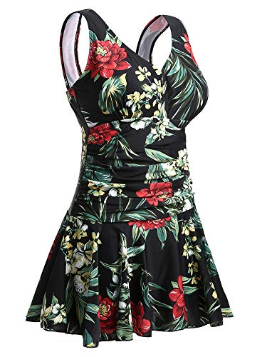 MiYang Women's Plus-Size Flower Printing Shaping Body One Piece Swim Dresses Swimsuit Black Flower XX-Large (US 18W-20W)