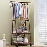 XYBB Armario Dormitorio 4 Colorido Piso De Pie Ropa Colgante Racks W/Rueda...