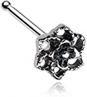 Camellia Flower Filigree Icon Nose Stud Ring 316L Surgical Steel