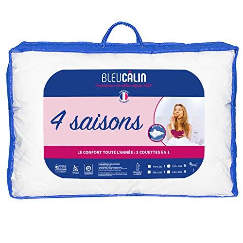 Bleu Câlin Couette 4 Saisons 2 Personnes, 3 Couettes en 1, Blanc, 220x240 cm, KTD