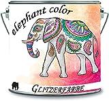 elephant color Pintura brillante de látex, pintura de emulsión, pintura de interior para paredes con purpurina, color de pared con purpurina, 2 l, azul verde – plata brillante)