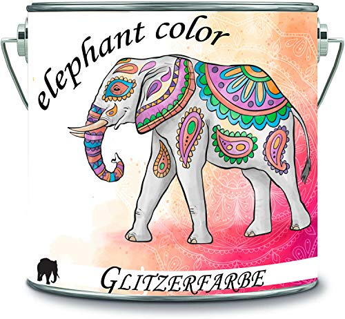 elephant color Glitzerfarbe Latexfarbe Dispersionsfarbe Innenwandfarbe Glitzerfarbe Glitterwandfarbe Glitter Wandfarbe (2 l, Baby Blau - Silber Glitzer)