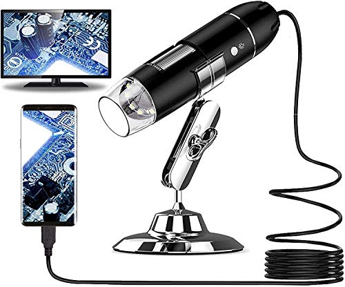 USB Digital Microscope, Kids Adults Mini Microscope Gadgets 50X to 1000X, 8 LED Magnification Endoscope Camera with Plastic Stand & Carrying Case Compatible for Android Windows 7 8 10 Mac (Black)