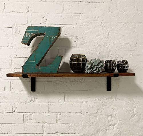 Wandregal aus recyceltem Altholz Massivholz 80cmx18cm (BxT) Regalhaltern aus Stahl Industie-Loft-Vintage-Design | Echtes Altholz mit FSC Recycled Zertifikat