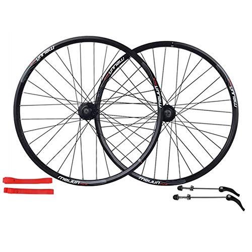 Hs&con MTB Bike Wheelset 26 Pulgadas Disco Freno de Ciclismo Llantas Rueda de liberación rápida Rueda de Bicicleta 32 Relacionado por 7-10 Velocidad de Casete Flywheel (Color : Black, Size : 26')