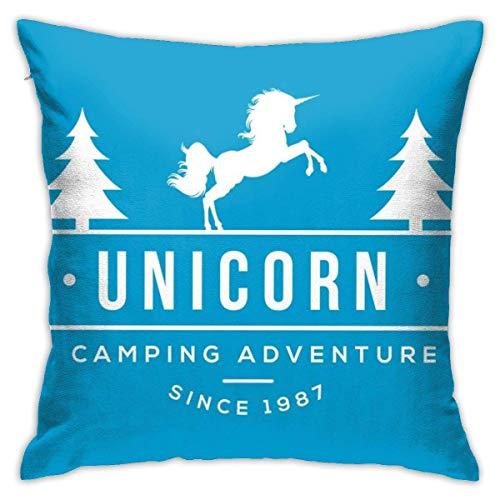 WH-CLA Throw Pillow Covers Unicornio Camping Adventure Summer Camp Anime Fundas De Almohadas Decorativas Sofá Duradero Cuartos De Estar Suave Funda De Almohada Cama Personalizada 45X45Cm