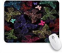 ECOMAOMI 可愛いマウスパッド 鮮やかなカラフルな蝶の蝶とのシームレスな黒のパターン 滑り止めゴムバッキングマウスパッドノートブックコンピュータマウスマット