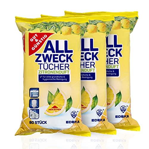 Salviettine umidificate per pulizia antibatterica in dispenser Confezione 240 pezzi – Contenuto della confezione da 3 (3 x 80 pezzi) – con fresco profumo di limone.