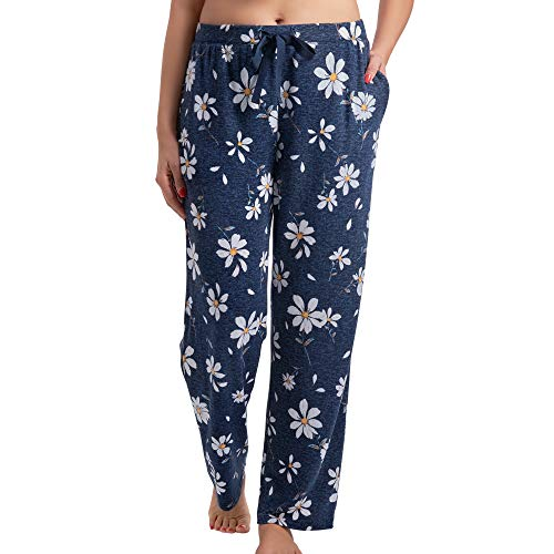Laura Ashley Brushed Hacci Sperate Long Pant with Inside Pockets (Navy Daisy, Large)