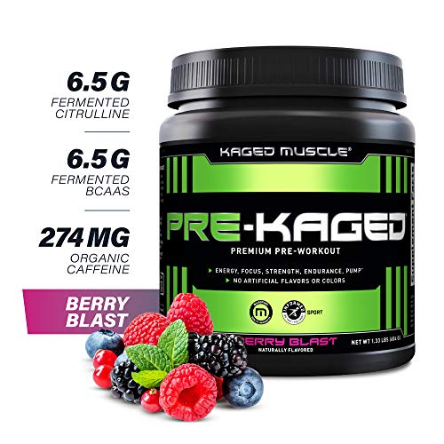 Pre Workout Powder; KAGED MUSCLE Preworkout for Men & Pre Workout Women, Delivers Intense Workout Energy, Focus & Pumps; One of the Highest Rated Pre-Workout Supplements, Berry Blast, Natural Flavors