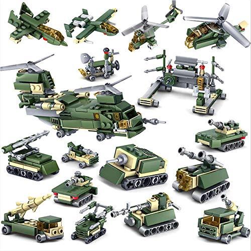 448 Stks Militaire Speelset Militaire, Gemonteerd Speelgoed Puzzel Cijfers Voertuigen 16-in-1 Militair Model Leger Cijfers Speelgoedauto's Tanks Vliegtuigen Bouw Bouwstenen