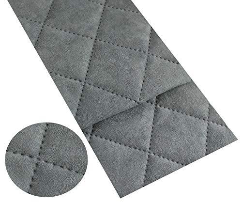 Microfaser Alkan Imitat Gesteppt Polsterstoff Möbelstoff Meterware Polsterstoff Wildleder 50x150cm (Grau 10)