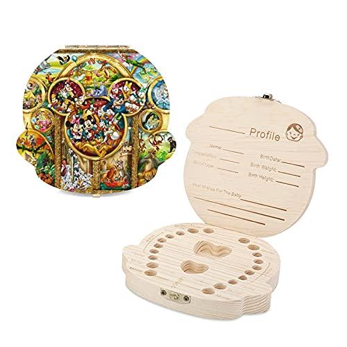Caja de dientes para niños de Mickey Mouse Beauty Beast Tinker Bell Peter Pan de madera linda para recuerdos de la niñez