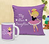 TIED RIBBONS Childrens Day Gifts for Girl Cushion (12 inch X 12 inch) with Coffee Mug...