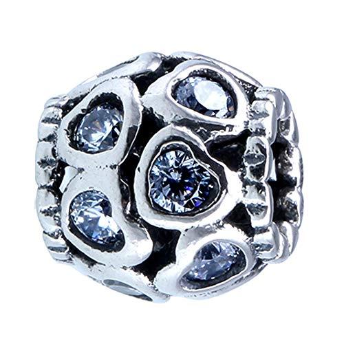 Pulsera Charms Abalorios S925 Bead Fit Lady Bracelet Bangle Love All Around White Crystal Charm Para Mujeres Diy Colgantes Finos Pulsera Niñas Adolescentes Diy
