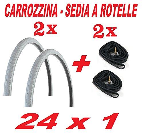 CicloSportMarket 2 COPERTONI COPERTURE Pneumatici + 2 x Camera d'Aria 24 x 1.0 - Carrozzina/Sedia A ROTELLE