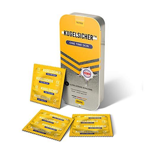 KUGELSICHER Kondome Vegan Gefühlsecht, Extra Dünn und Feucht (52 mm) - 8er Pack 1 x 8 St. in Stylischer Geschenk Box, Made in Germany