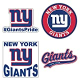 New York City Giant Football Emblem Die-Cut Decal Sticker Pegatina - Set of 4 Pieces - Longer Side 13 cm