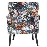 Homy Sessel Blumenmuster Bunt Samtbezug Velours Holzfüße Schwarz Polstersessel - Floral