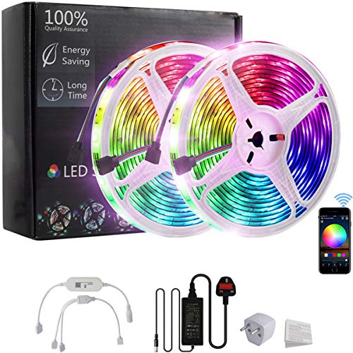 WiFi LED Strip Lights 10 M (2 * 5M) Waterrepous SMD5050 RGB 300 LED(2x150) Flessibili Rope Color Changing kit con Smartphone controllato per Halloween, Home, Outdoor, Bar